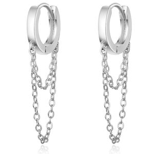 NEW 925 STERLING SILVER PLATED CHAIN HUGGIE HOOPS